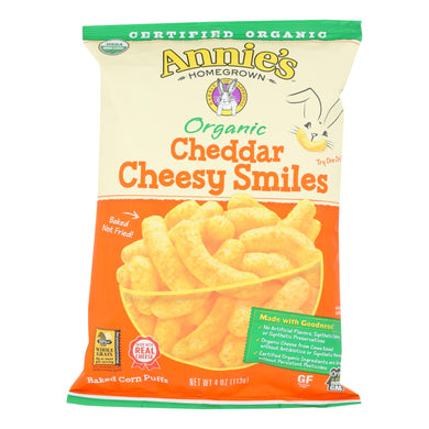 Annie's Homegrown Cheese Puffs Cheddar - Case Of 12 - 4 Oz