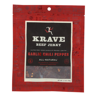 Beef Jerky, Garlic Chili Pepper - Pack of 8 2.7-oz bags