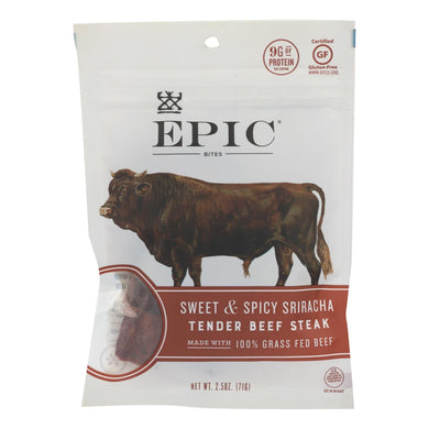 Epic - Jerky Bites - Sweet And Spicy Sriracha Tender Beef Steak - Case Of 8 - 2.5 Oz.