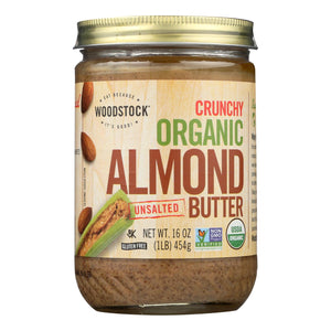 Woodstock Organic Almond Butter - Crunchy - Unsalted - 16 Oz.