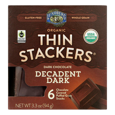 Lundberg Family Farms - Stackers Dark Chocolate - Case Of 6 - 3.3 Oz