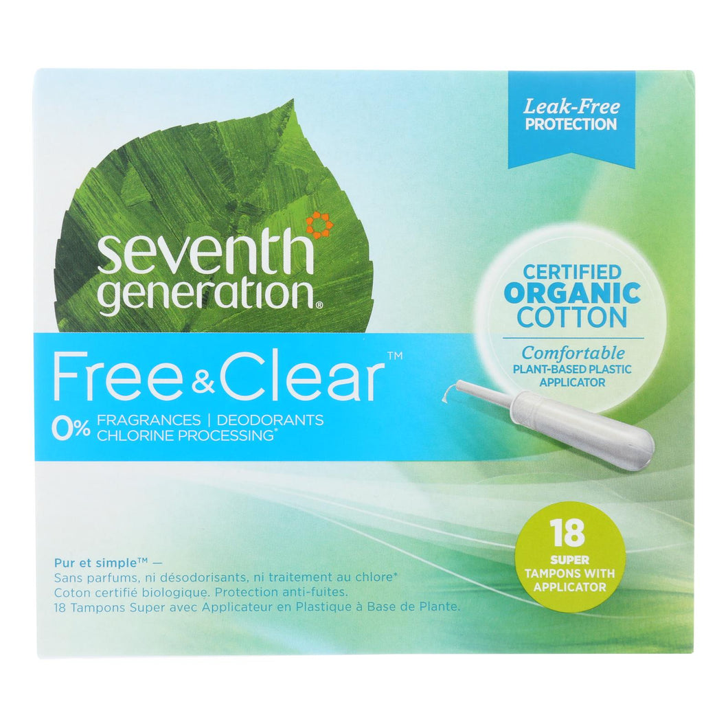 Seventh Generation - Free And Clear Tampons With Applicator - Super - Case Of 6 - 18 Count