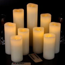 Load image into Gallery viewer, Set/9 Battery Remote candles.