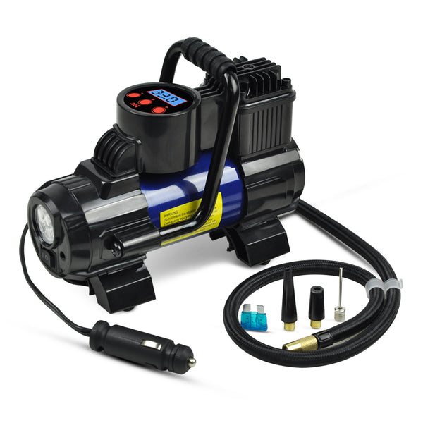 Portable Mini Air Compressor Pump-DC 12V Digital Tire Inflator Tire Pump for Car 150 PSI Blue