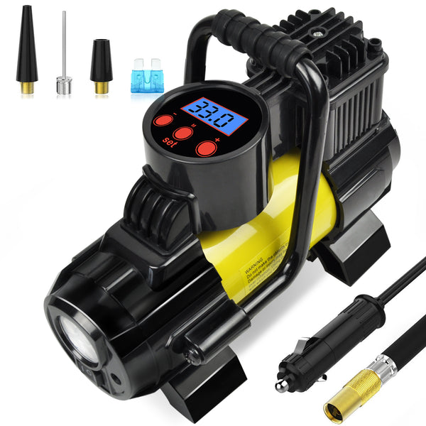 Portable Mini Air Compressor Pump-DC 12V Digital Tire Inflator Tire Pump for Car 150 PSI Gold