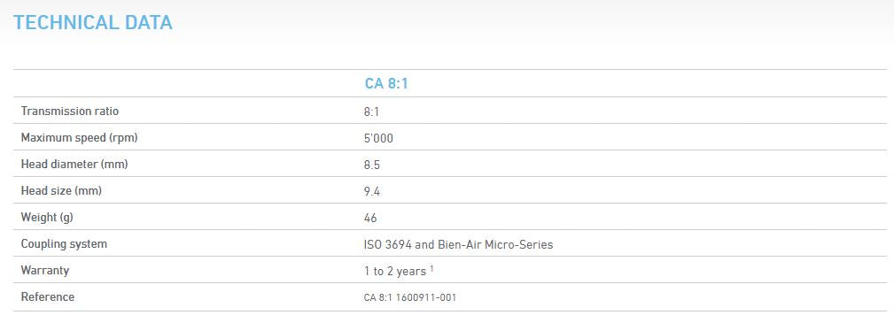 Bien-Air CA 8:1 Contra-Angle Endodontic Electric Handpiece Technical Details
