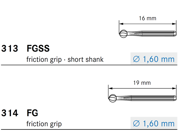 Komet FG and FGSS Shank Types
