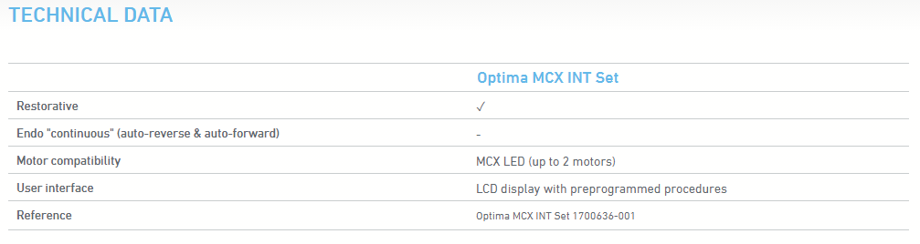 Optima Technical Data
