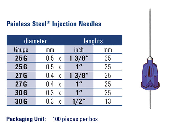 Painless Steel size chart