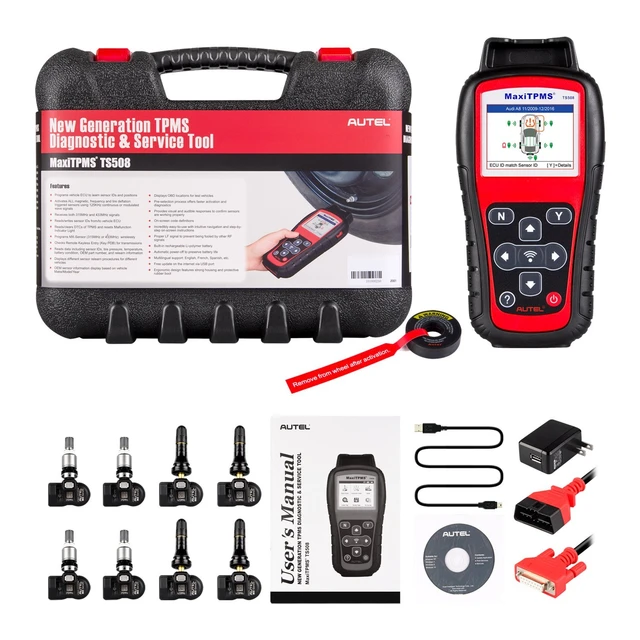 Autel MaxiTPMS TS508K TS508 Pre TPMS Tool Winter Snow Tire All Season Tires Summer Tyre Replacement with 8pc Sensors