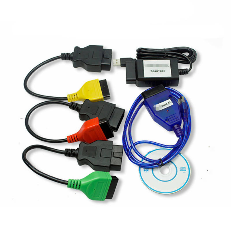 Professional For Fiat ECU Scan Diagnostic Cables Adapters FiatECUScan + MultiECUScan For Fiat / Alfa Romeo / Lancia OBD2 Scanner