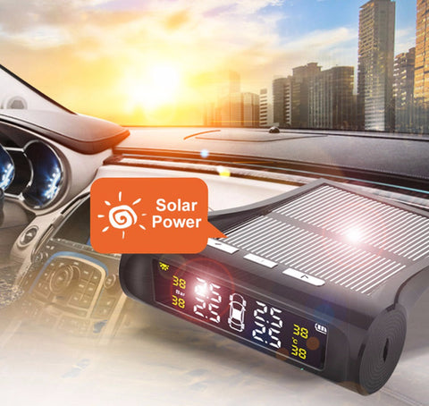 Universal Solar TPMS Wireless Tire Pressure Monitoring System Solar Charging TPMS Internal / External Sensors Cars LCD Display