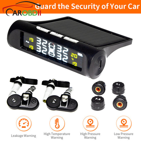 Image of Universal Solar TPMS Wireless Tire Pressure Monitoring System Solar Charging TPMS Internal / External Sensors Cars LCD Display