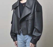 Load image into Gallery viewer, Off White Cropped Faux Leather Jacket