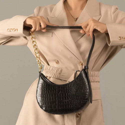 Croc Bag with Chain Detailing