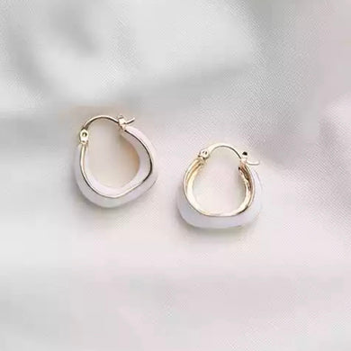 White & Gold Hoop Earrings
