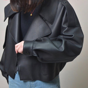 Off White Cropped Faux Leather Jacket