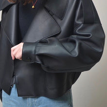 Load image into Gallery viewer, Black Cropped Faux Leather Jacket