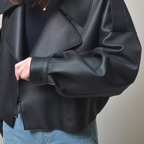 Black Cropped Faux Leather Jacket - Pre Order