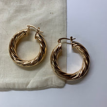 Load image into Gallery viewer, Ora Gold Twist Hoop Earrings