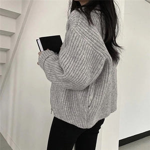 Ribbed Zip Up Cardigan