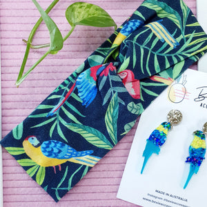 Stretch Twist Turban - Tropical birds