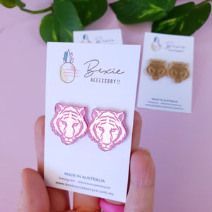 25mm Tiger stud earring - Pink