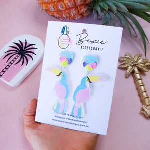 Toucan dangle earrings - Multi colour tops