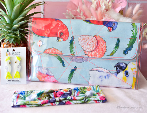 Schudio Midi Clutch bag - Birds of Parrot-dise