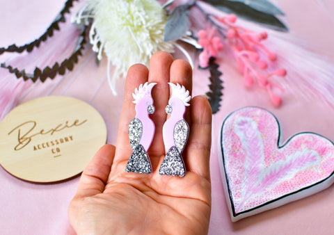 Pink silver Galah handmade resin glitter statement stud earrings