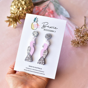 Pink silver Galah handmade resin glitter statement earrings