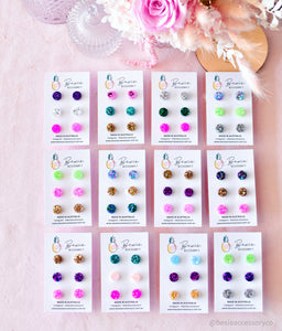 Lucky dip 10mm mini glitter resin studs - 3 x pack