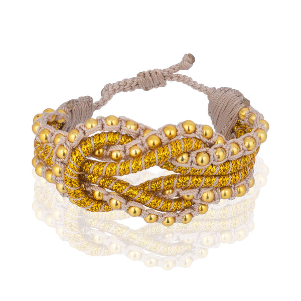 Open Knot Beaded Bracelet- Gold
