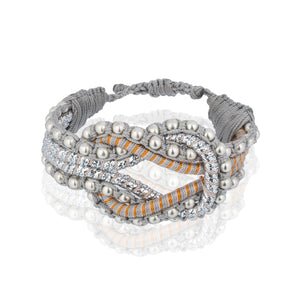 Open Knot Beaded Bracelet- Stripe Silver