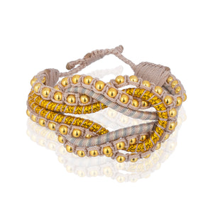 Open Knot Beaded Bracelet- Stripe Gold