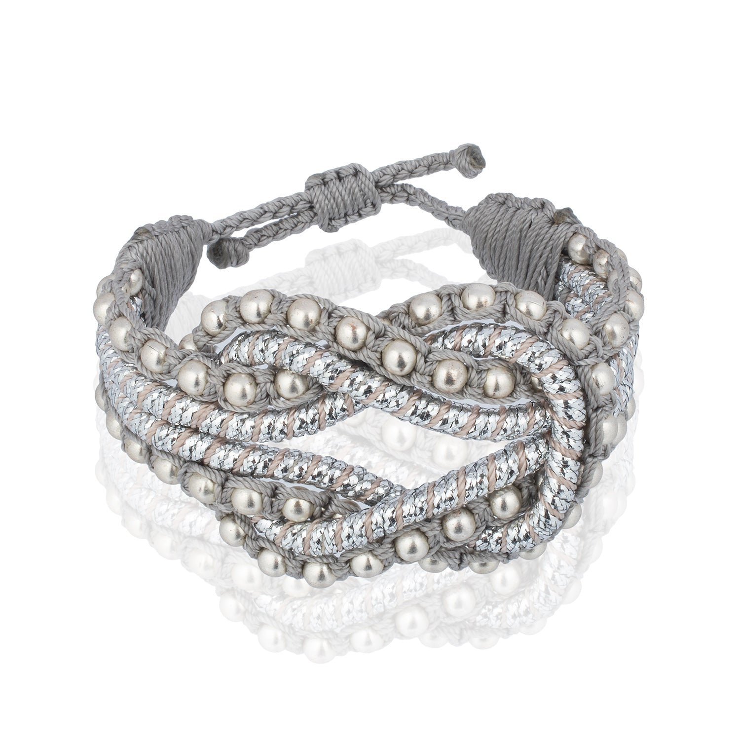 Open Knot Beaded Bracelet- Silver
