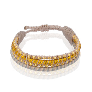 Teopan Beaded Bracelet - Stripe Gold
