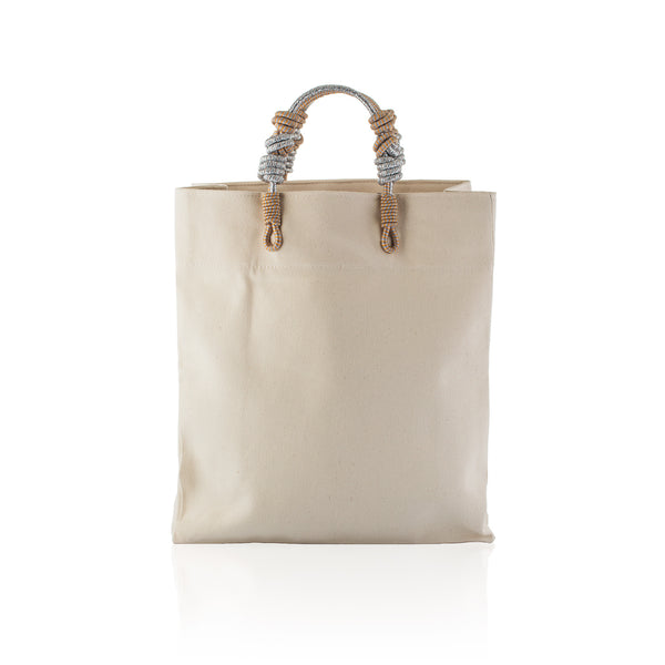 3 Knot Market Tote- Silver natural