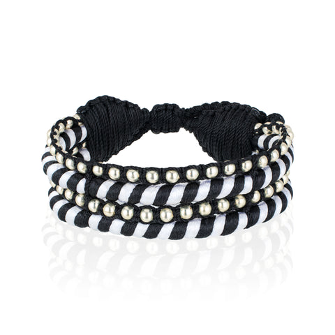 Teopan Beaded Bracelet - Black & White/ Silver
