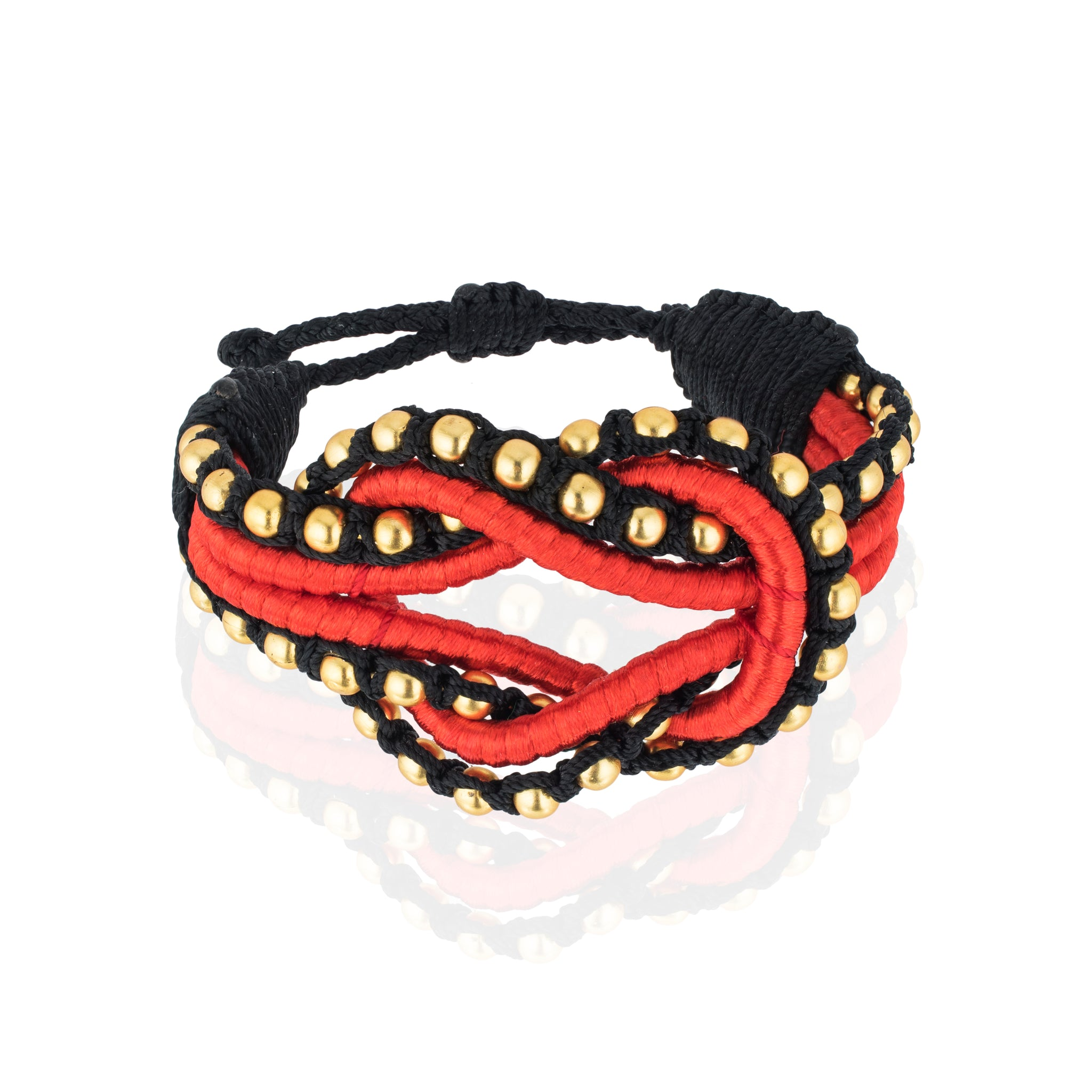 Open Knot Beaded Bracelet- Red & Gold
