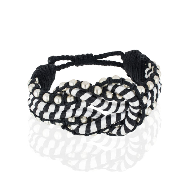 Open Knot Beaded Bracelet- Black & White/ Silver