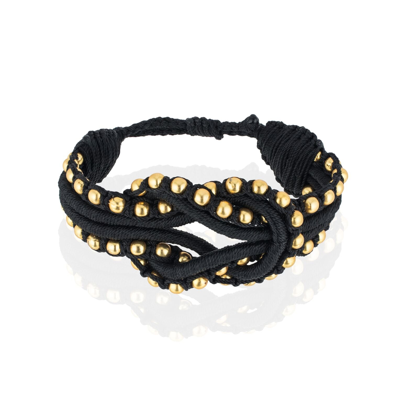 Open Knot Beaded Bracelet- Black & Gold