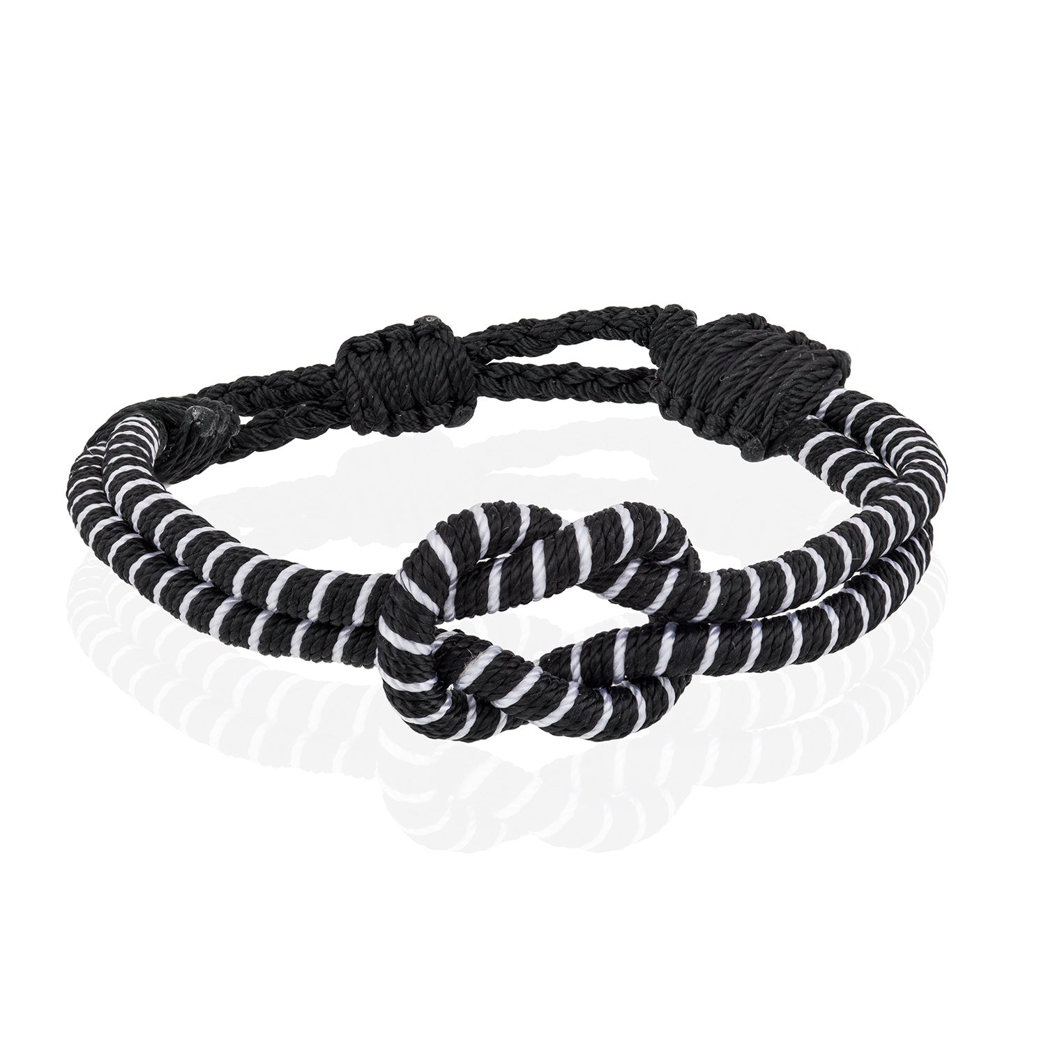 Open Knot Bracelet - Two Strand Black & White