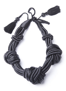 5 Knot Necklace- Black Leather