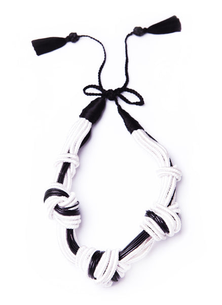 5 Knot Necklace- White Leather