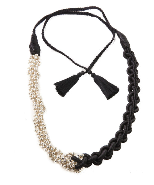Beaded and Braided Necklace- Black