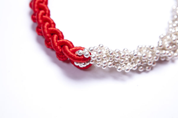 Beaded and Braided Necklace- Red