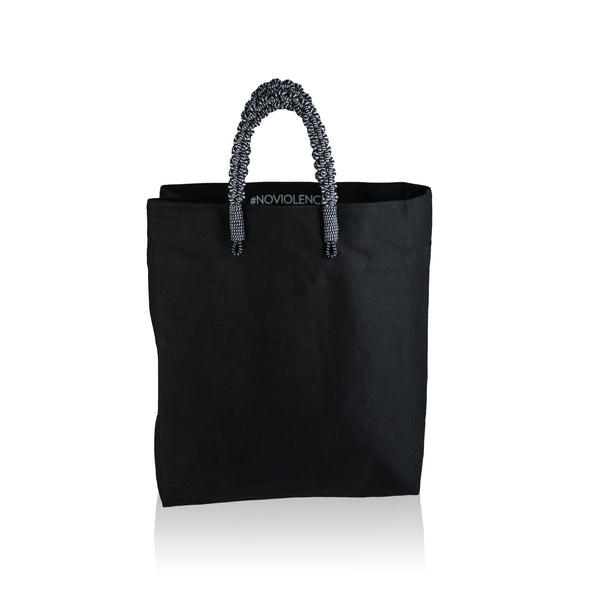 Braided Market Tote-Black