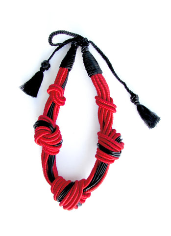 5 Knot Necklace - Red and Black Leather