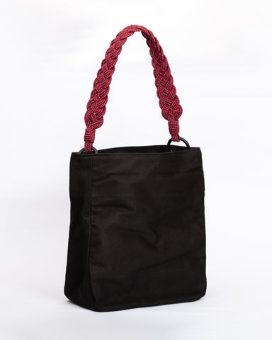 Lucrecia shoulder bag-  Black and White Braided straps